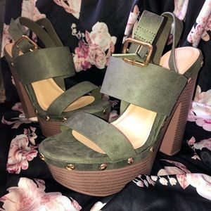 Olive Green Chunky Heels